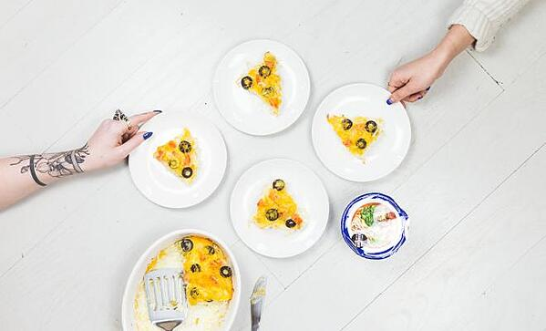 4 dishes with variations of an egg dish
